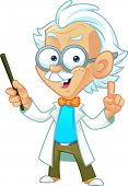 stock photo of einstein  - Vector Illustration of a Professor Mascot Teaching in Front of Class - JPG