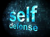 Protection concept: Self Defense on digital background