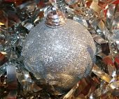 Christmas Bauble Silver Tinsel