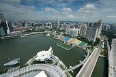SINGAPORE - SEPTEMBER 16: An aerial view of Singapore's business district and tourist attraction on