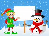 Christmas Elf And Snowman With Sign In His Hand
