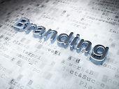 Marketing concept: Golden Branding on digital background poster