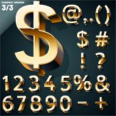 Vector illustration of golden 3D alphabet. Compact Medium style. Set 3