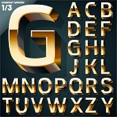 Vector illustration of golden 3D alphabet. Compact Medium style. Set 1