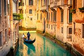 foto of gondola  - Gondola on canal in Venice - JPG