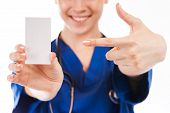 Female Nurse, Doctor, With Beautiful Hands Give Card