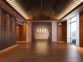 Empty oriental style interior