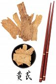 stock photo of qi  - Astragalus root used in traditional chinese herbal medicine with mandarin title script translation and chopsticks - JPG