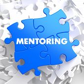 picture of mentoring  - Mentoring Writing on Blue Puzzle Pieces - JPG