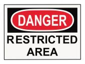 stock photo of osha  - OSHA danger restricted area warning sign isolated on white - JPG