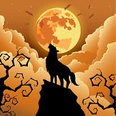 stock photo of wolf moon  - Silhouette Wolf howling at the moon  - JPG