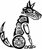 stock photo of tlingit  - Mythical Coyote rendered in Northwest Coast Native style - JPG