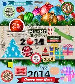 2014 Christmas Vintage typograph design elements: vintage labels. ribbons, stickers, baubles and gif