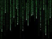 Green matrix code on black background