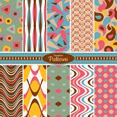 stock photo of apparel  - Collection of 10 geometric colorful seamless pattern background - JPG