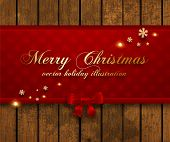 Vintage Christmas Background, Wood Texture, Vector