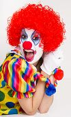Clown Yelling Close Up Portrait Bright Beautiful Female Performer