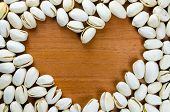 Heart Shaped Frame Made Of  Pistachio Nut