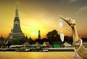 Royal Barge Suphannahongse, wat arun in sunset, concept