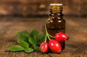 Bottle Of Essential Oil Of Rose Hips