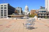 Capitol At Madison Wisconsin Standing At Rooftop Of Monona Terrace