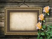 stock photo of bunch roses  - Old vintage frame for photos and a bouquet of yellow roses - JPG
