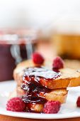 foto of french-toast  - French toast with raspberry jam on a plate - JPG