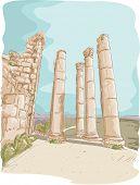 picture of cardo  - Illustration Featuring the Jerash Pillar Ruins in Jordan - JPG