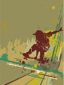 Illustration Featuring the Silhouette of a Skateboarder Against a Grunge Themed Background