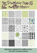 Set of 25 Seamless Doodle Patterns - Whimsical hand drawn seamless patterns, including raindrops, stripes, checks, rings, floral, scales and fishnet