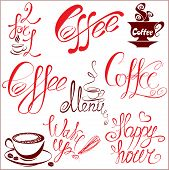 Set Of Coffee Cups Icons, Stylized Sketch Symbols And Hand Drawn Calligraphic Text: Coffee, Menu, Wa