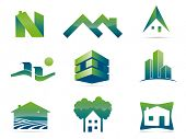 Real Estate Vector Symbols. Set of nine stylish realty and construction icons, easily editable with