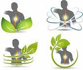 Human back, spine symbols