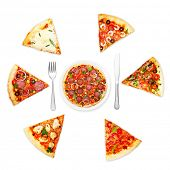 Pizza slice with different toppings and plate with fork and knife isolated on white background.