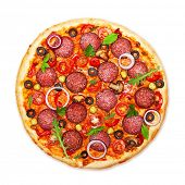 pic of red meat  - Pizza isolated on white background - JPG