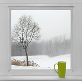 Winter Landscape Seen Through The Window And Green Cup