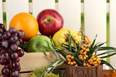 Different fruits in box and branch of sea buckthorn on fence background