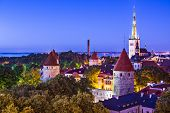 Skyline of Tallinn, Estonia at sunset.