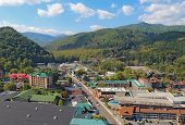 Aerial View Of The Main Road Through Gatlinburg, Tennessee