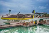 stock photo of hydroplanes  - seaplane of a Maldives air taxi at Male airport - JPG