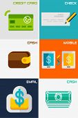 Set of flat design concepts - payment methods / solutions. Credit card, check, cash, email, mobile