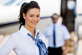 stock photo of cabin crew  - Portrait of beautiful stewardesses smiling with pilot and private jet in background at terminal - JPG