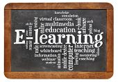 online education concept - e-learning word cloud on a vintage slate blackboard