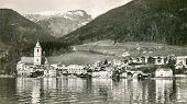 ST WOLFGANG (AUSTRIA), CIRCA 1938: Vintage photo of market town of St. Wolfgang and Wolfgangsee lake