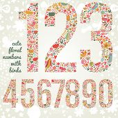 Cute floral numbers with birds. Numbers made of flowers and birds in bright colors. Zero, one, two,