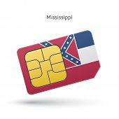 State of Mississippi phone sim card with flag.