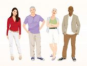 Detailed vector of four casual people.