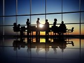 Silhouette of Business Agreement at Meeting