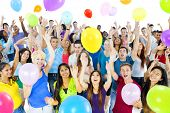 image of adolescent  - Young Diverse World People Celebrating with Colorful Balloons - JPG