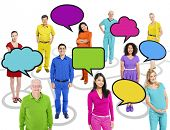 Group of Multi-ethnic Colorful People Connected with Speech Bubbles